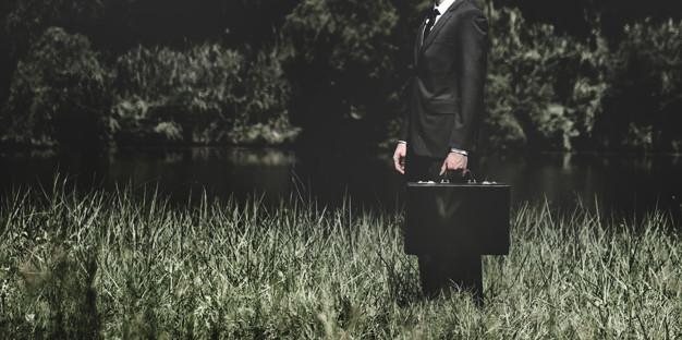 Businessman standing on a grass outdoors